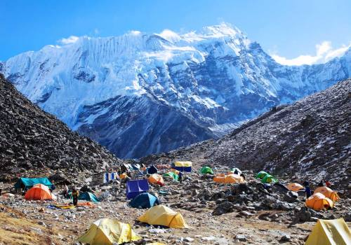 The colours of tents at Island Peak base camp Nepal