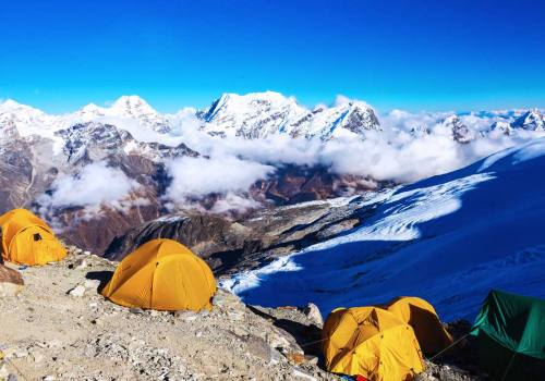 The yellow tents at high camp, Mera Peak Nepal