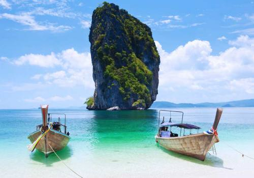 Cliff and boats in Phi Phi Island at Phuket Thailand