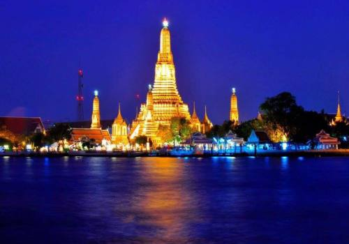 Wat Arun at night from Bangkok Thailand